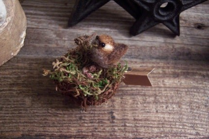 Felted Wren in Nest
