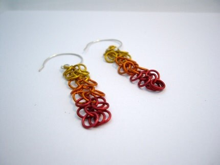 Fire shaggy loop earrings