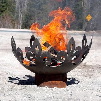 41 inch Fiery Fleur-de-Lis Modern Steel Firebowl