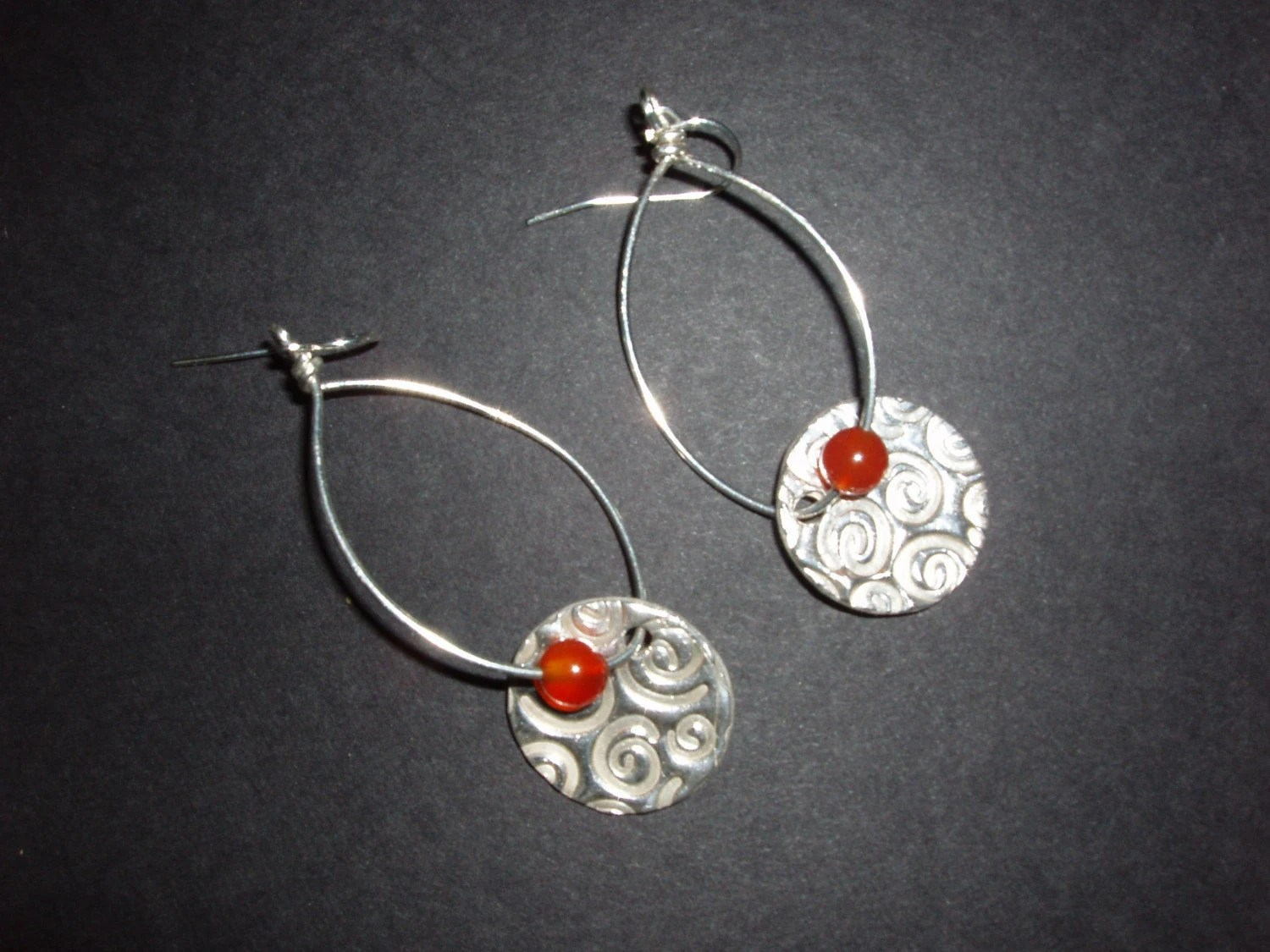 These sparkly carnelian earrings are perfect accessories for an Independence Day picnic.  See more at http://www.etsy.com/shop.php?user_id=7089619