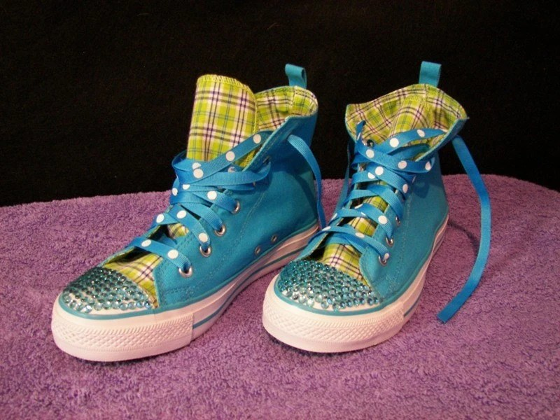 BLING HIGH TOP Tenney Shoes with TURQUOISE Rhinestones