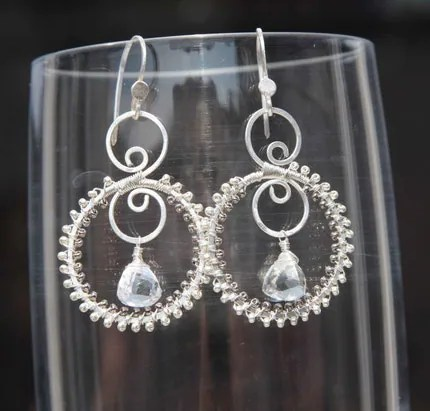 Gayle Earrings with silver and crystal