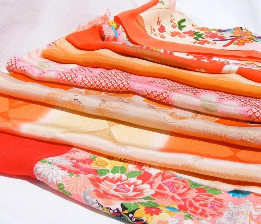 Kimono silk fabric scrap pack #11