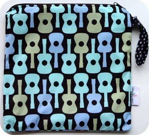 Large 14 x 14 Wet Bag Wetbag Boy Groovy Guitar Fabric / Perfect for Diapers / Gym / Swim / SEALED SEAMS and SNAP STRAP