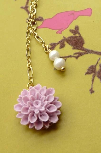 Necklace - Sweet Lavender-Colored Chrysanthemum Cabochon and Faux Pearls strung from 22K Non-Rust Gold Chain from Korea