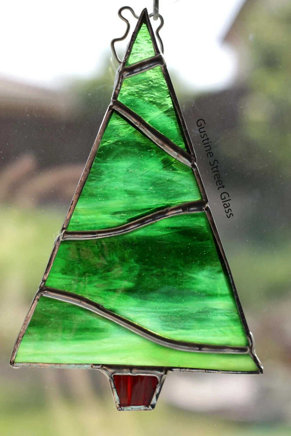 Green Stained Glass Christmas Tree 5.5 x 3.5 inches