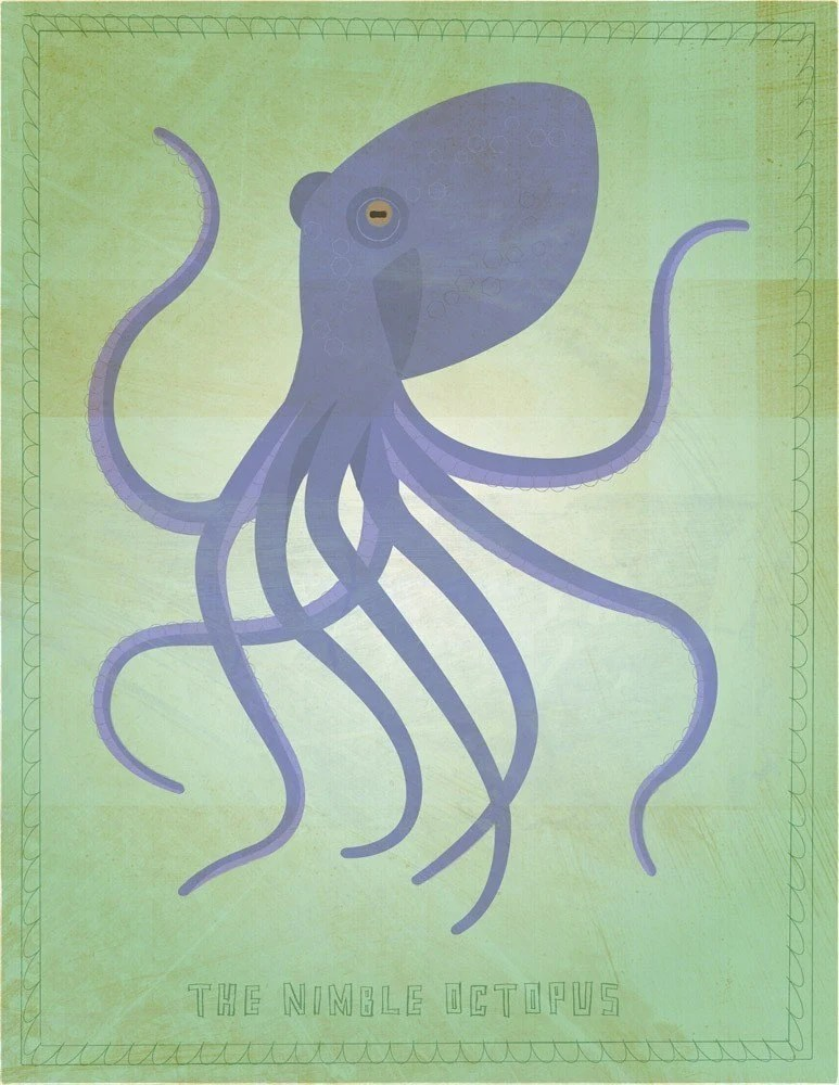 the nimble octopus print by johnwgolden