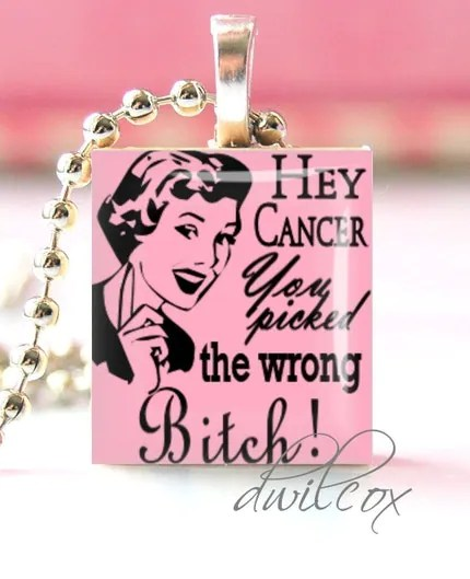4. Scrabble Tile Pendant Necklace - Cancer Awareness