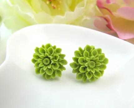 4. Chrysanthemum Cabochon Ear studs