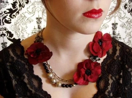 Gorgeous Asymmetrical Red Poppies Upcycled Necklace