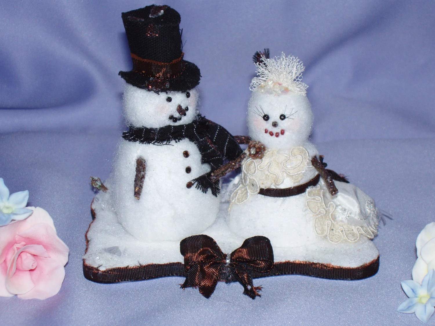 Winter Snow Cake Topper Snowcouple