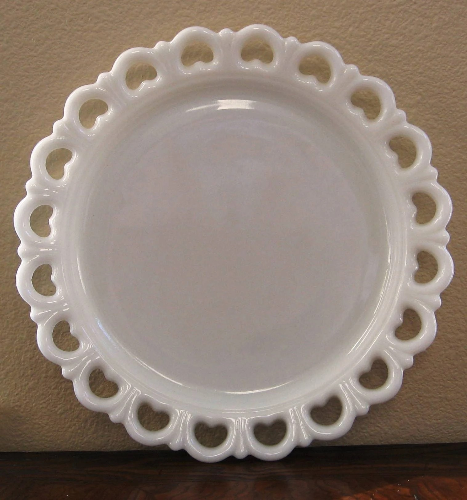 Vintage Milk Glass Plate with Lace Scalloped Edge