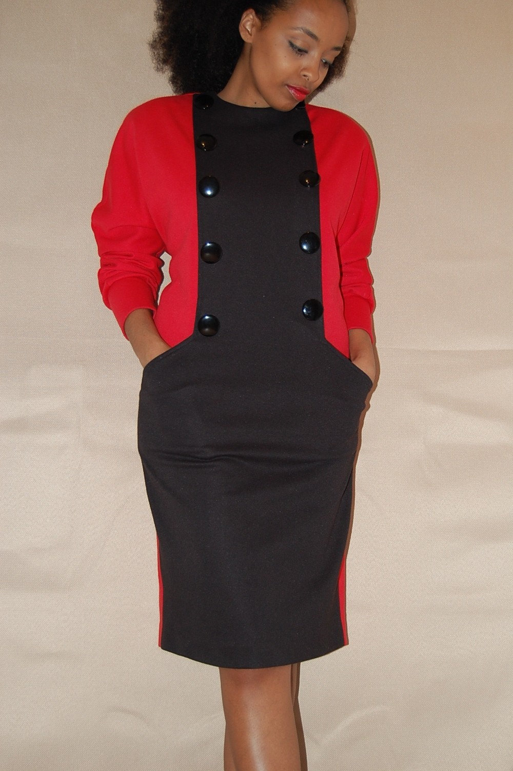 Vintage ----Button Me Up---- Red and Black Dress