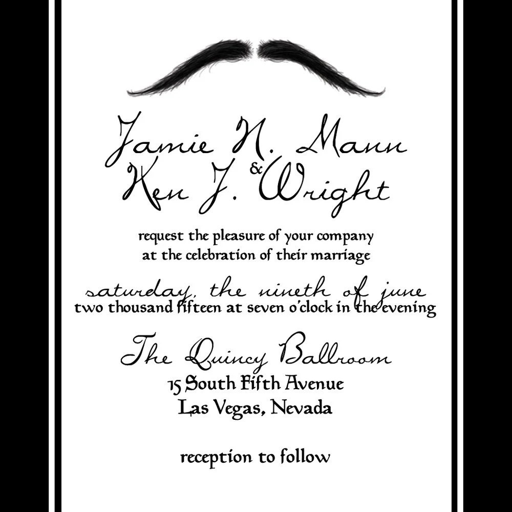 QUINCY Mustache Wedding Invitation and RSVP Set