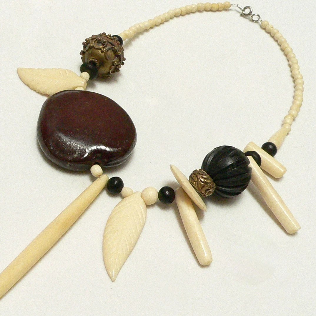 70s BOHO CARVED BONE and WOOD BEAD NECKLACE with TAGUA NUT and BRASS EMBELLISHMENTS free shipping