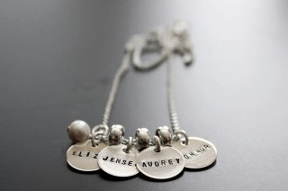 Custom sterling silver, four teeny tags necklace with charm