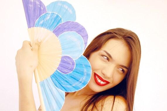Crazy bubbles blue. Hand painted fan. W