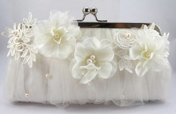 ANGEE W. Alencon and Organza Bridal Clutch in Ivory 8-inch