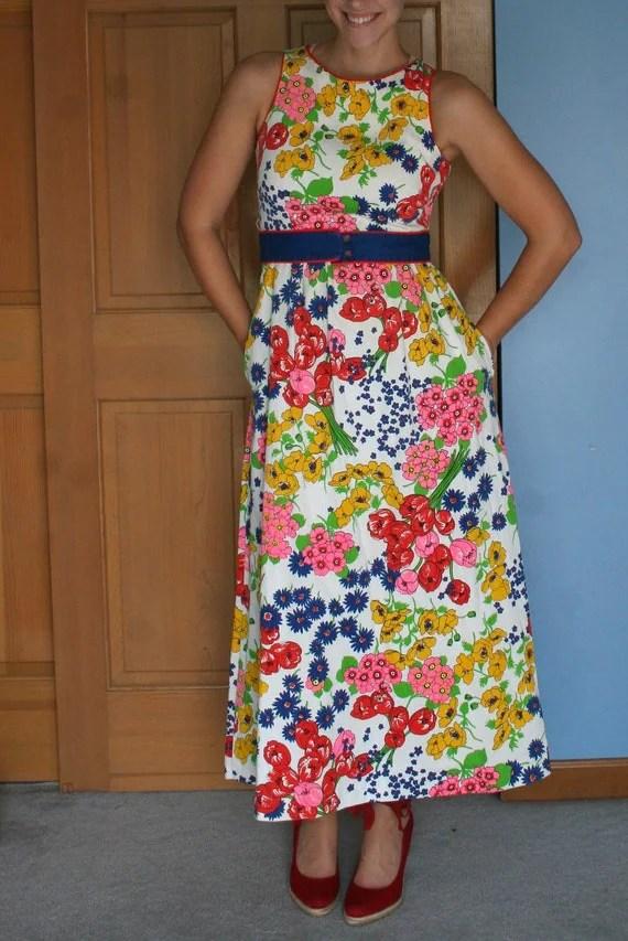 Vintage- 60s 70s Floral Maxi Dress
