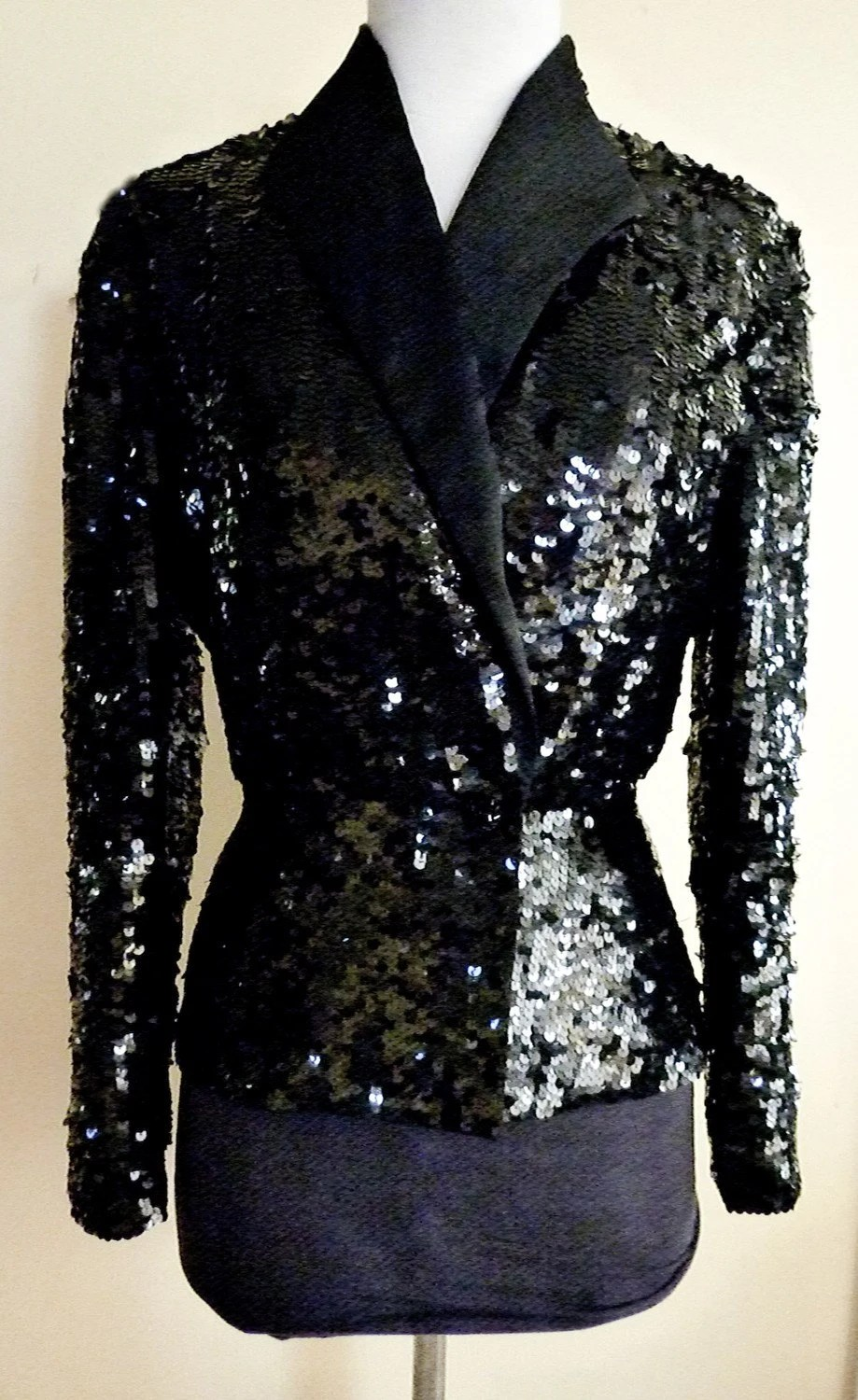 80ies Vintage Black Sequin Jacket Nolan Miller Dynasty mint condition