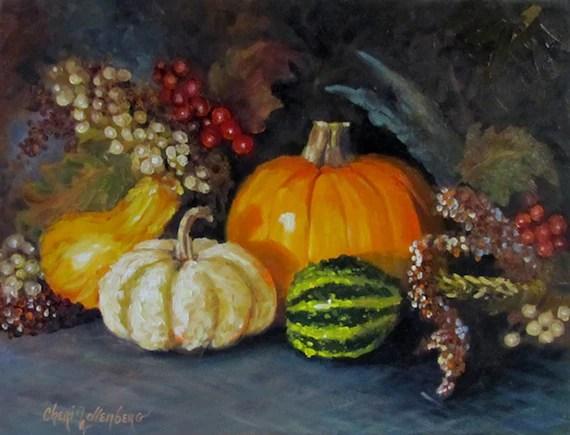 Autumn Pumpkin and Gourd Arrangement - 12x16 Original Oil on Canvas