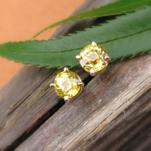4mm Yellow Mali Garnet - 14k Yellow Gold and Gemstone Stud Earrings - Top Quality
