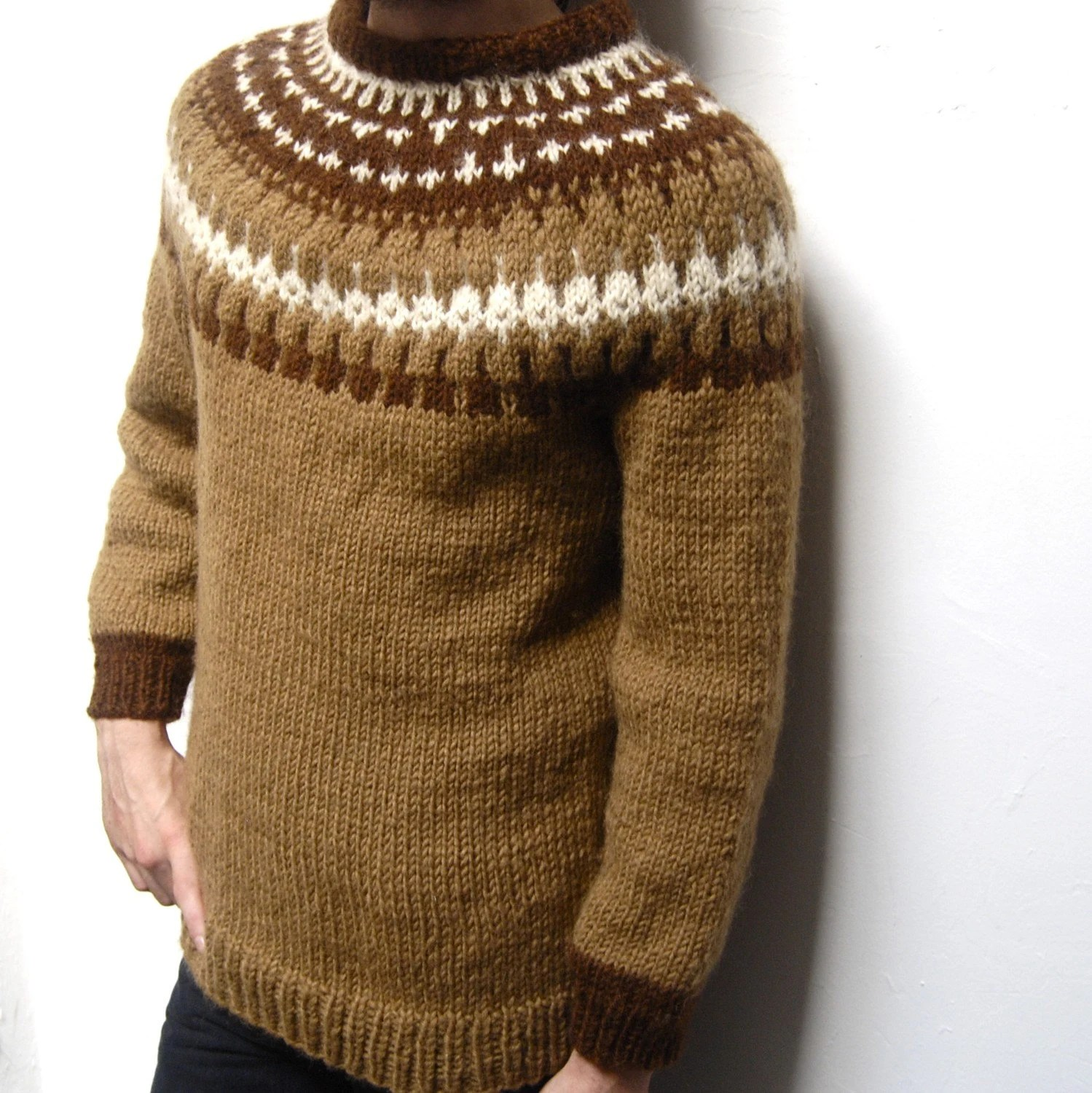 vintage 70s NORDIC thick knit HANDMADE long cozy SWEATER
