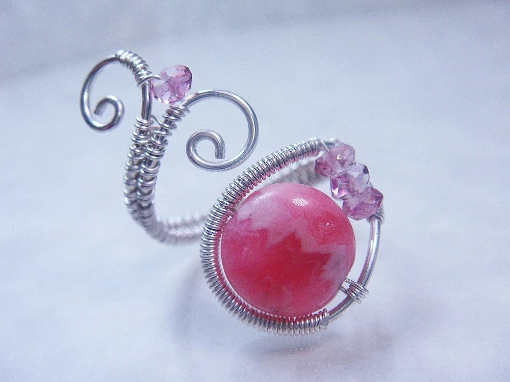 Rhodochrosite and Mystic Quartz Sterling Silver Adjustable Ring