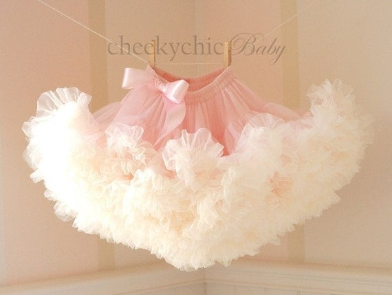 PETTISKIRT - Vintage Pink and Buttercream Ivory with Satin bow