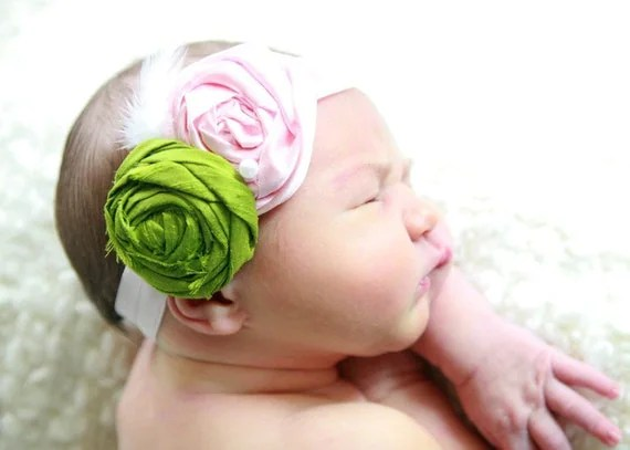 Green and Pink Rosette Headband with a touch of white by Polka Dot Bungalow