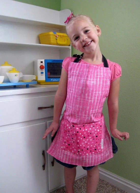 Reversible Childs Apron -- Hot Pink Dalmation Dots -- Small -- Ages 4-6