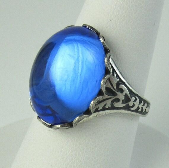Sapphire BLUE Swarovski Vintage Glass Ring Antique Silver Adjustable Band