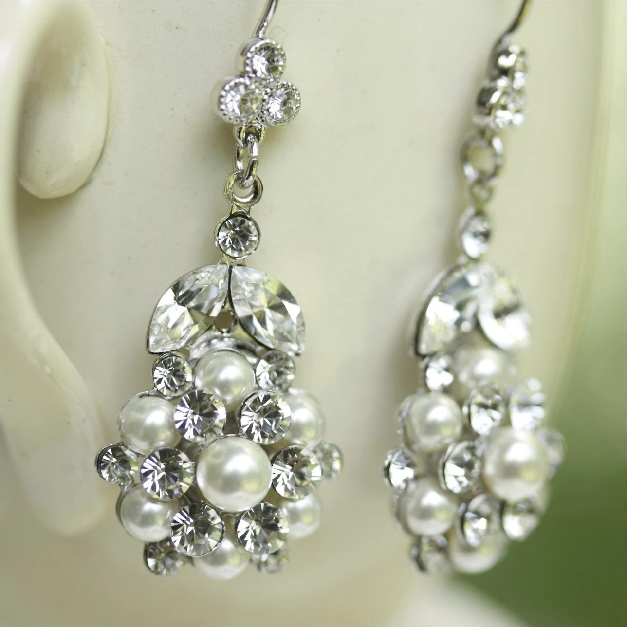 Alice Bridal Ivory Pearl Earrings. Swarovski