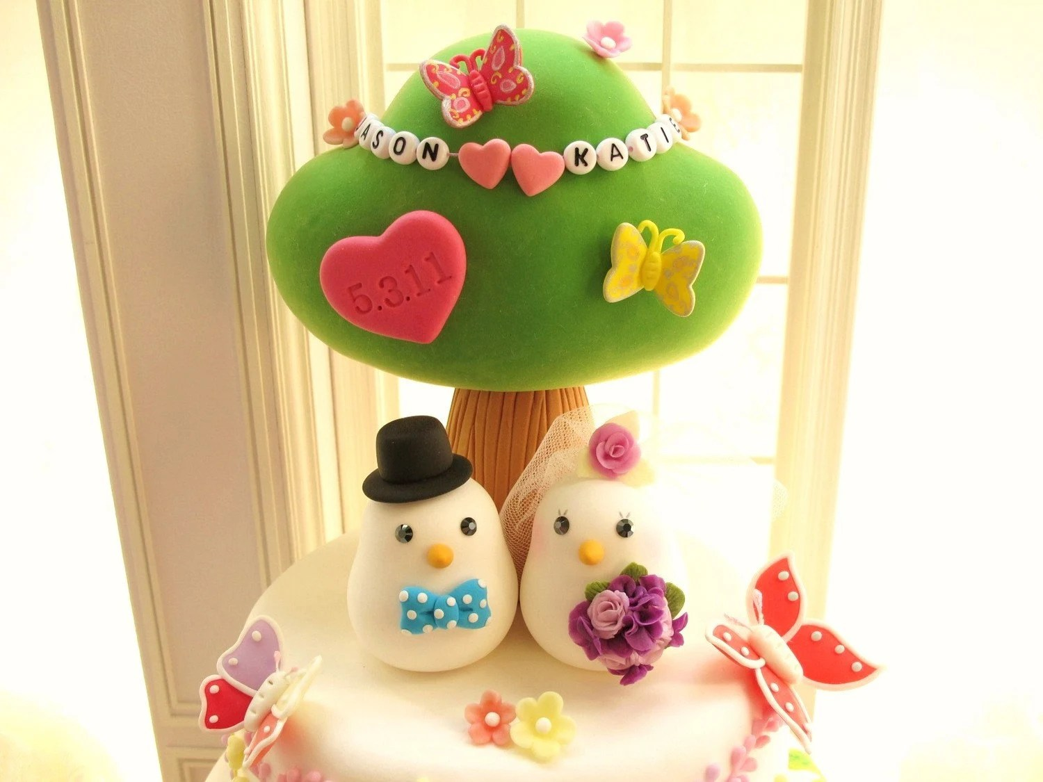 LOVE ANGELS Wedding Cake Topper-love bird with tree
