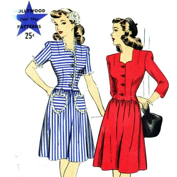Vintage 40s WWII Sweetheart Dress with Heart Pockets- Size 12- Bust 30- Hollywood 1390
