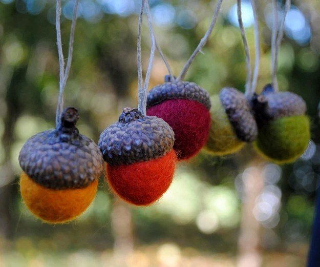 Wool Felted Acorn Ornaments - Set of 5 in Autumn Tones