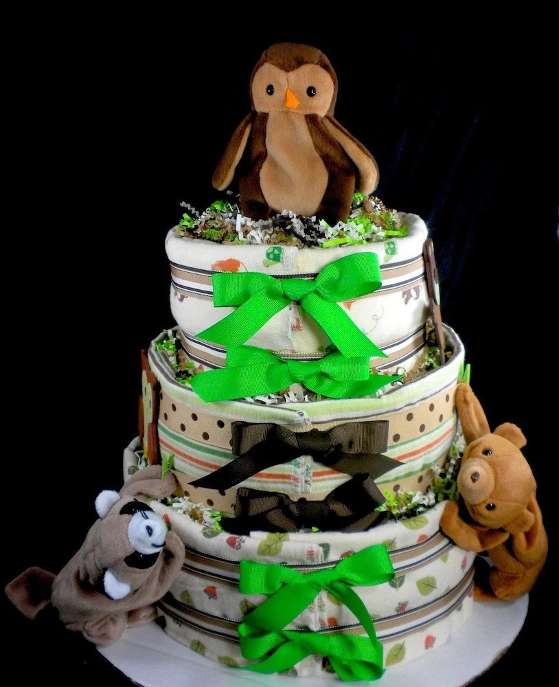 3 tier Carters Tree Tops Diaper Cake Baby Shower Gift Blankets Green and Brown Boy Forest Animal Owl Raccoon Bear Turtle