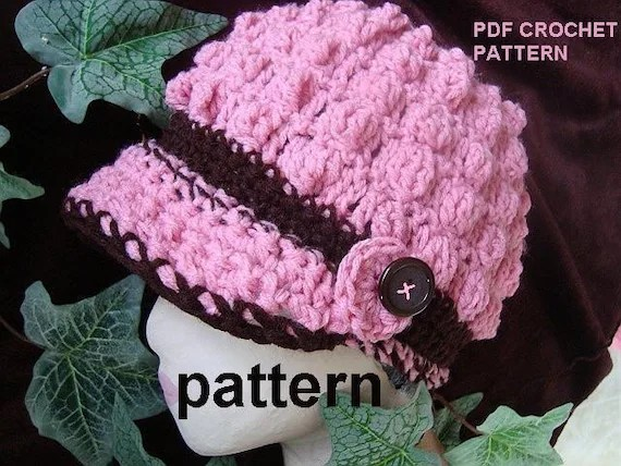 CROCHET PATTERN 137.....PINK BOBBLE STITCH HAT, ADULT SIZE... It's always ok to sell your finished hats using my patterns