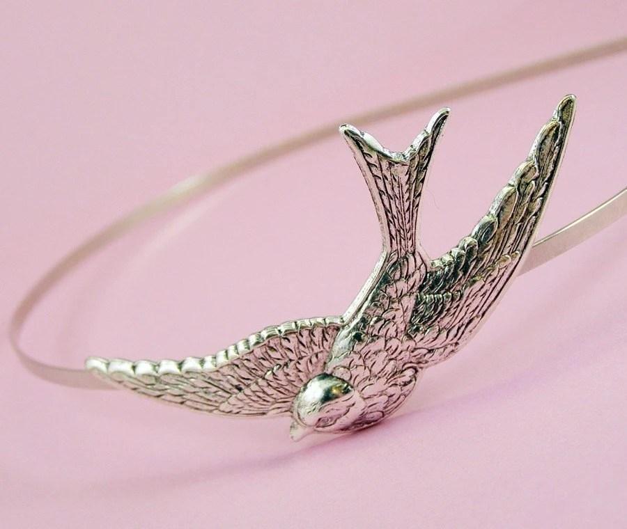 Bird headband swallow silver