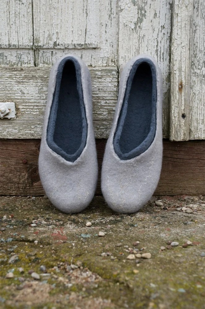 Felted slippers made of softest merino wool 2in1 GREY AND GREY
