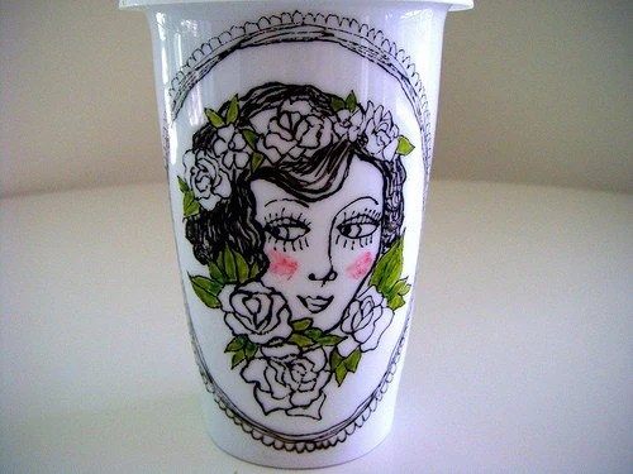 Eco Friendly Travel Mug Ceramic Tattoo Hand Painted black and white green Rose by sewZinski on Etsy