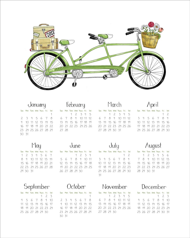 2011 CALENDAR - Green Tandem Bicycle -  Fine Art Print - 8x10