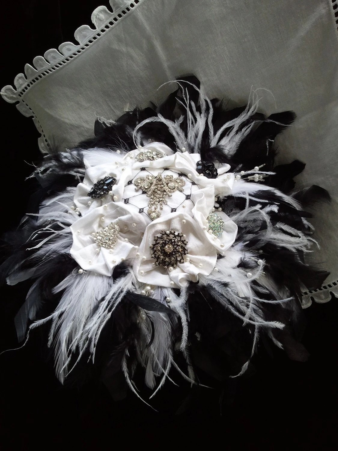 Feather Brooch Bridal Bouquet - Tuxedo Edition