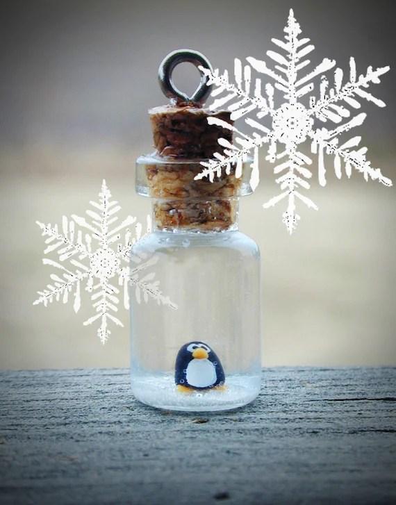 Christmas SALE Tiny Penguin in Glass Bottle