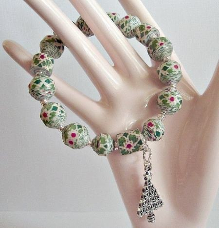 Merry Holiday, Paper Bead Stretch Bracelet, custom sizing