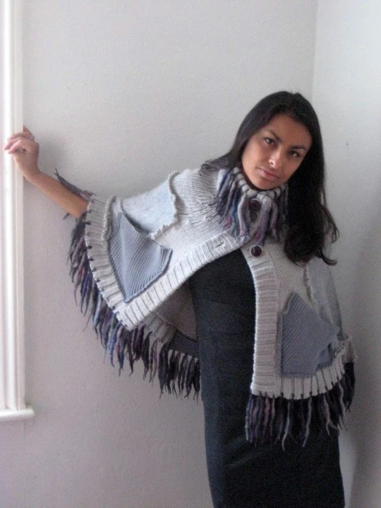 Soft Cloud Gray Fringed Upcycled Mini Cape Poncho                 Made in England UK