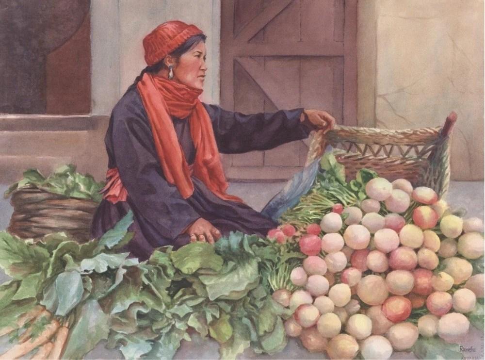 "Watercolor Limited Edition Print  ""Vendor in Leh"""