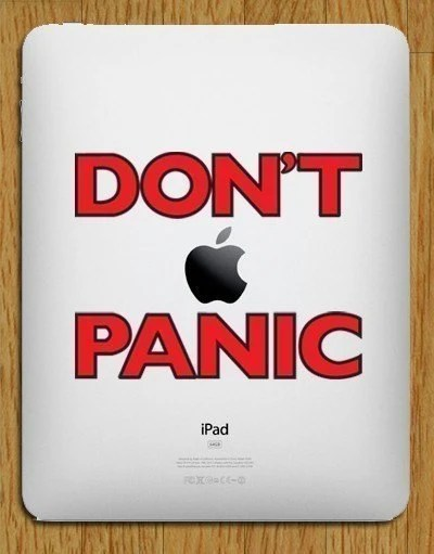 Don't Panic - iPad Layered Vinyl Decal - Red and Black