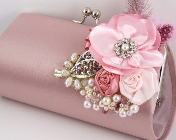 Glamour in Pale Pink- Statement Bridal Clutch with Repurposed Vintage Brooches, Satin Flowers, Plumes and Czech Pearls