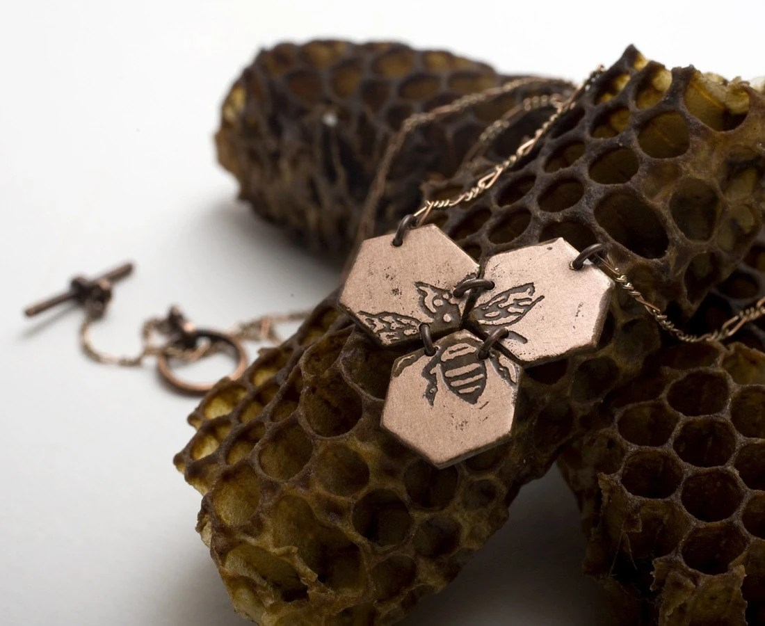 Small Etched Honeycomb Necklace